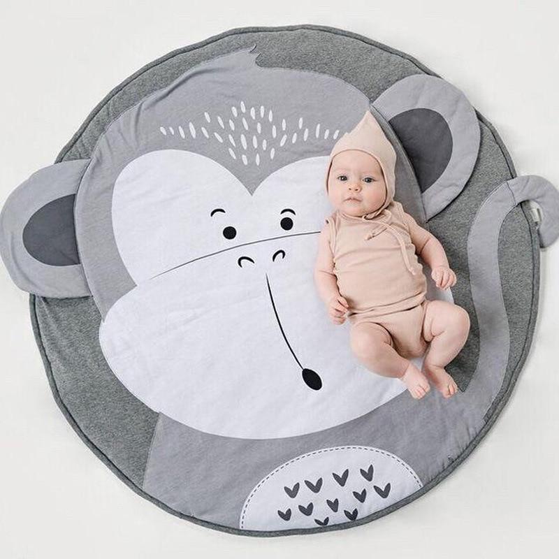 90cm crianças esteira do jogo do bebê do design do macaco tapete redondo algodão animal playmat infantil recém-nascido rastejando cobertor decoração do quarto