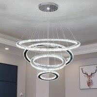 Işıklar ve Aydınlatma'ten Kolye ışıkları'de 4 daire K9 kristal kolye lamba pırlanta yüzük LED ışık Modern LED daire asılı lamba oturma odası yemek odası kristal aydınlatma