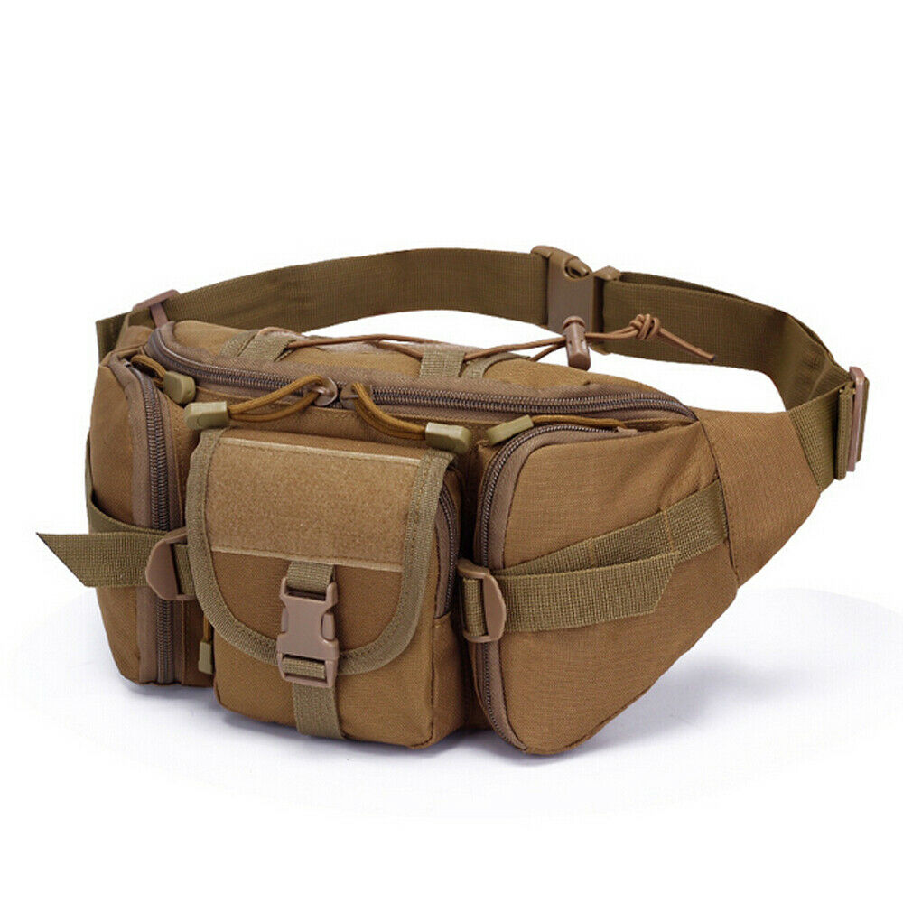 Double Water Bottle Men Nylon Waist Sport Bag Belt Tactical Military Travel Hiking Pack Camping Tactical Waist Pack Anti-Tear