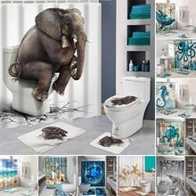 Океанский пляж Раковина Морская Черепаха слон занавеска для душа 3D водонепроницаемый занавеска s ванная комната пьедестал Ковер Крышка туалет ванна коврик набор