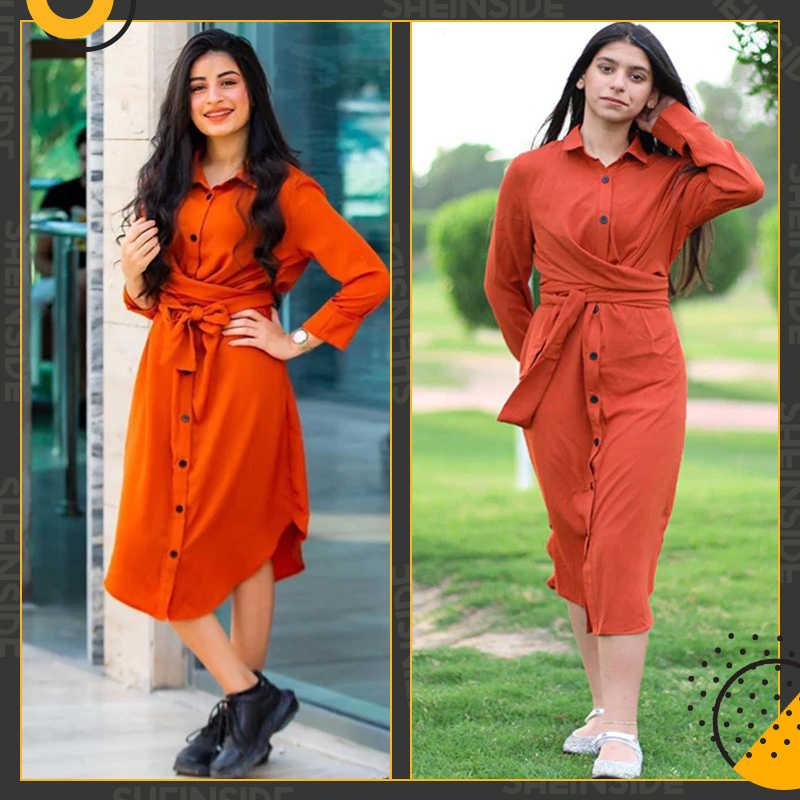 Sheinside оранжевое платье-рубашка с закругленным подолом сзади и узлом, женское офисное платье с длинными рукавами, элегантные женские платья-миди 2019