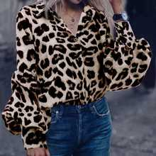 2021 kadın bluzlar bahar leopar baskı gömlek Casual uzun kollu gevşek gömlek Tops sonbahar kadın yaka hırka ofis kadın bluzları