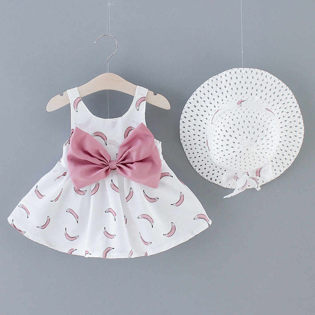 Toddler Baby Kids Girls Floral Flowers Princess Dress Hat Outfits Clothes UK Hot