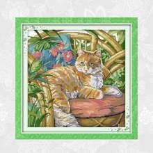 Рукоделие считает 14ct 11ct кошка на стуле aida холст «сделай