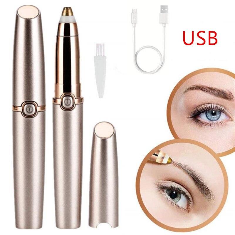Protable Mini Electric Eyebrow Trimmer Lip Face Hair Razor Epilator Pen Hair Remover Eyebrow Shaver USB Rechargable 40#1016