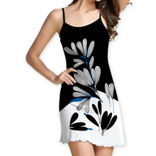 Sling Wooden Ear New Dress Summer Stylish Sweet and Fresh Digital Printing  Women