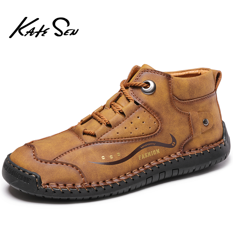 KATESEN Men Shoes Men Casual Shoes British Style Leather Men Fashion Walking Shoes Big Size Brown Black Man Soft Flat Footwear