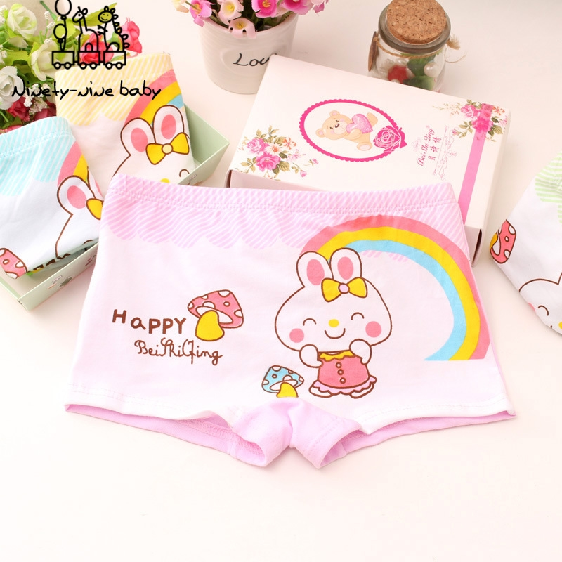 6 Piece Kids Girls Panties Children's Soft Cotton Boxer Underwear Lovely Cartoon Printed Briefs For Girls Breathable Underpants