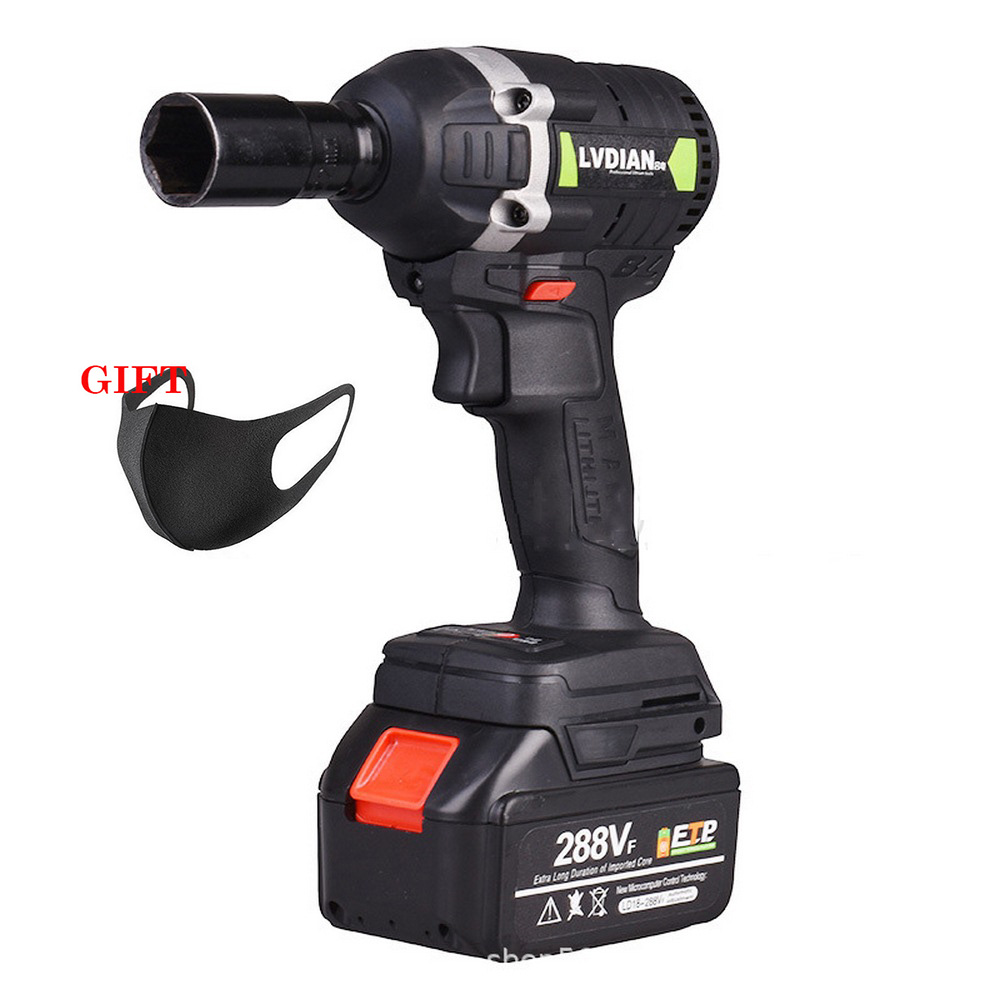 110-240V 630N.m 288VF Cordless Electric Impact Wrench High PowerElectric Wrench Brush 1x Li-ion Battery Power Tools