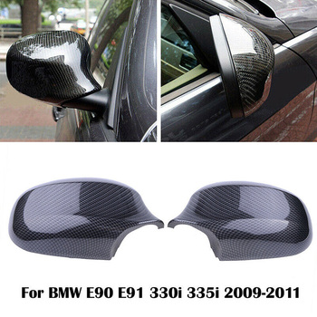 2x Real Carbon Fiber/ABS Mirror Cover E90 Car Side Rearview Cap Fit for BMW E91 LCI 2009-2011 Stlyling