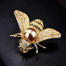 Broche série insectes pour femmes, marque célèbre, broche délicate petite abeille, cristal strass, bijoux cadeaux pour filles