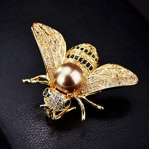 Famous Brand Design Insect Series Brooch Women Delicate Little Bee Brooches Crystal Rhinestone Pin Brooch Jewelry Gifts For Girl(China)