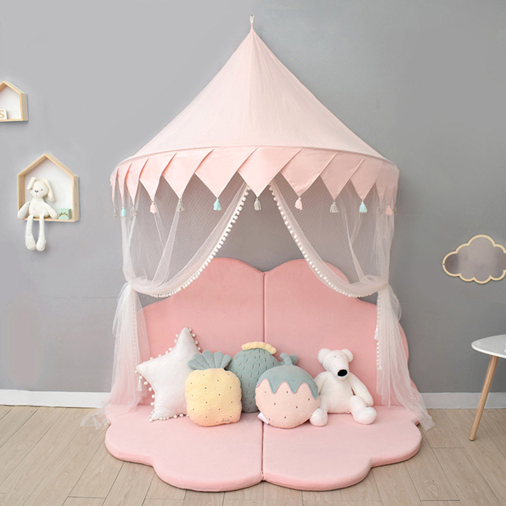 Bed Canopy for Children,Dome Princess Baby Kid Cribs Mosquito Net Cotton Round Dome Castle Play Tent Reading Nook Decoration Indoor Game Room Colour 3