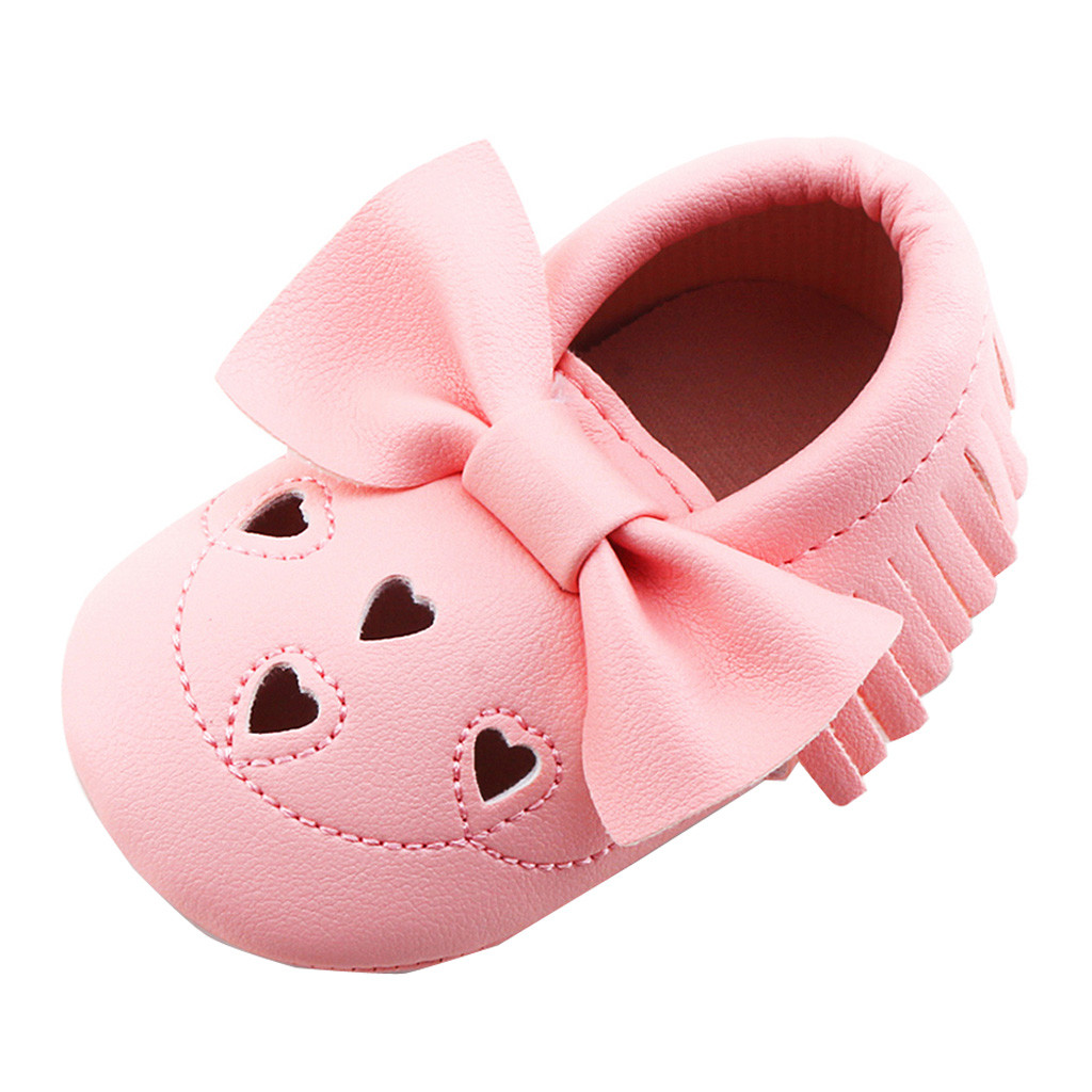 Newborn Infant Baby Girl Bowknot Love Shape Shoes Soft Sole Anti-slip Sneakers