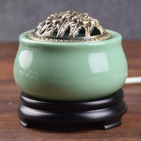 220V Electric Plug Ceramic Incense Burners Portable Porcelain Censer Buddhism Holder Home Teahouse Decor E