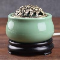 220V wtyczka elektryczna ceramiczne palniki kadzidełka przenośny porcelanowy Censer buddyzm Holder Home Teahouse Decor E w Kadzidełka i kadzielnice od Dom i ogród na