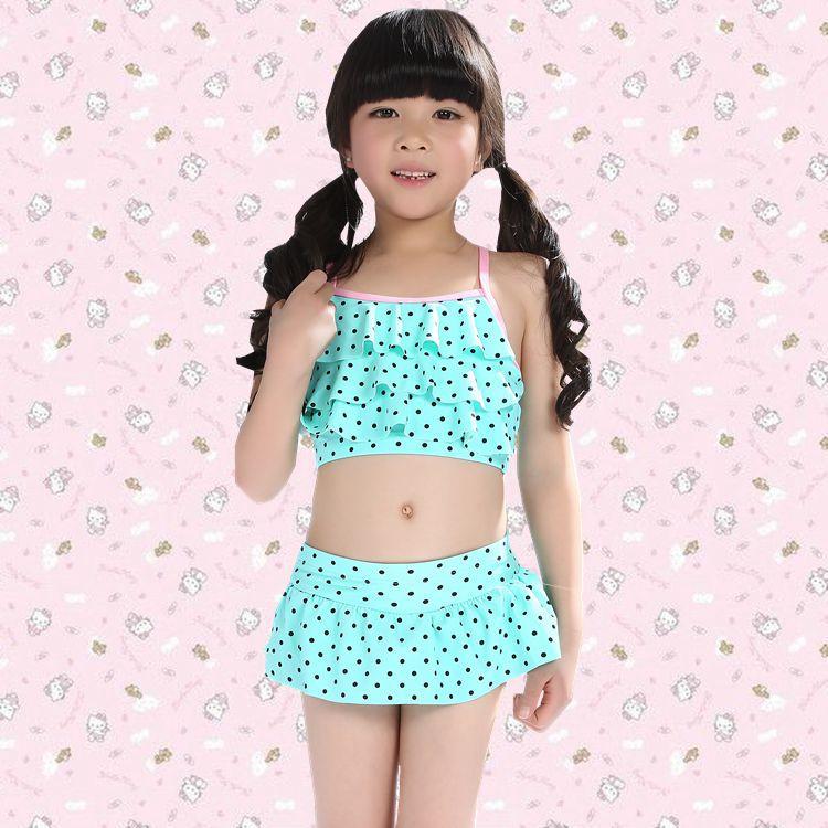 CHILDREN'S Bikini New Style Boxer Skirt Bathing Suit Medium-sized Child Tour Bathing Suit 10-13-Year-Old