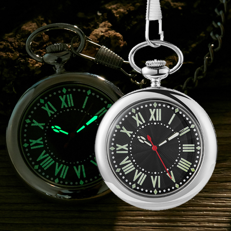 Luminous Quartz Pocket Watch Smooth FOB Chain Locket Dial Hollow Steampunk Men Women Mens Clock Black Box  Reloj De Bolsillo