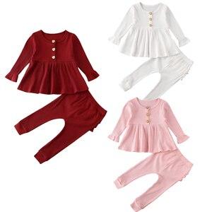 Niemowlę dzieci dziewczynka chłopcy odzież ustawia jednolity kolor, długi rękaw bluzki z dzianiny sukienka + legginsy z krezą spodnie stroje