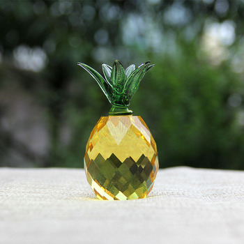 3/4cm Crystal Pineapple Figurine Glass Fruit Paperweight Home Decoration Ornaments Party Birthday Christmas Gifts Miniature 1