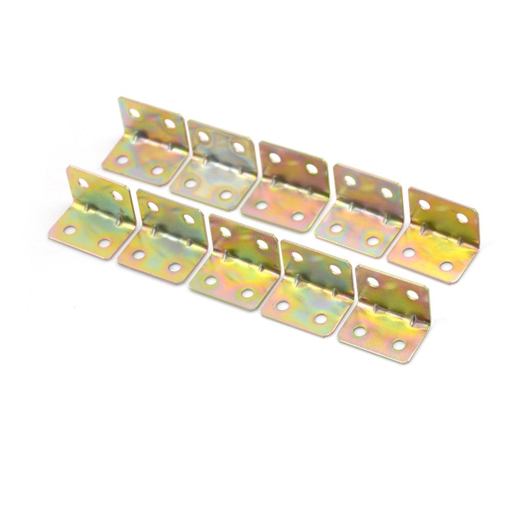 10 Pcs 29*20*4mm 90 Degree Metal Right Angle Bracket Shelf Support 4 Holes