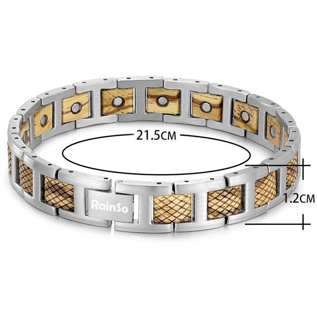H0fb5aae445c443f983f05a60d49f61ccO - Zebrawood Magnetic Stainless Steel Bracelet