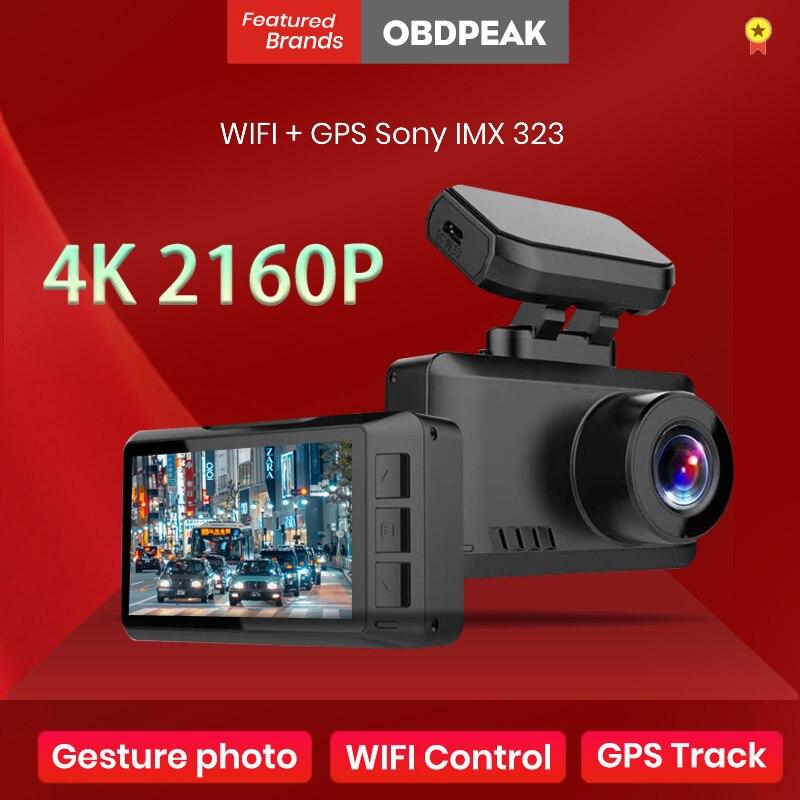 4K WI-FI Dash Cam со сверхвысоким разрешением Ultra HD, GPS трек Видеорегистраторы для автомобилей 3840*2160P жест фото супер Ночное видение Камера видео Рег...