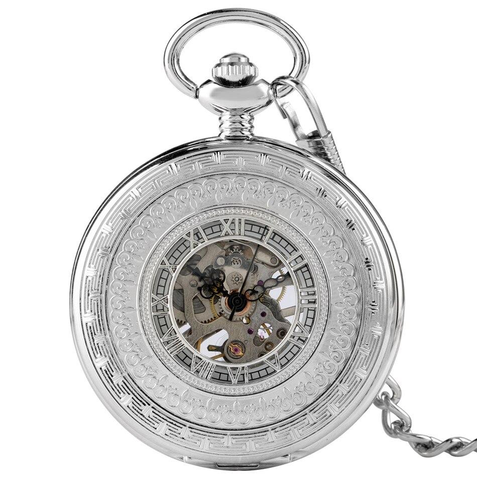 Exquisite Antique Silver Hollow Roman Numerals Manual Mechanical Pocket Watch Hand Winding Retro Clock Gifts Men Women