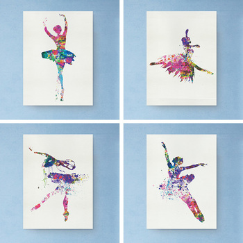 Wall Art Ballerina Ballet Dance Girl Minimalist Canvas Poster Painting Watercolor Picture Print for Modern Home Living Room Deco image