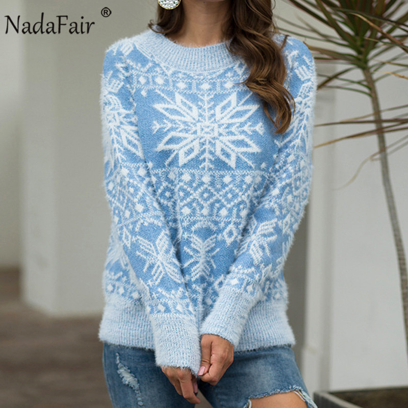 Nadafair Mohair Oversized Knitted Sweater Women Snowflake Casual Warm Knit Winter Pullover Christmas Sweater Jumper Plus Size