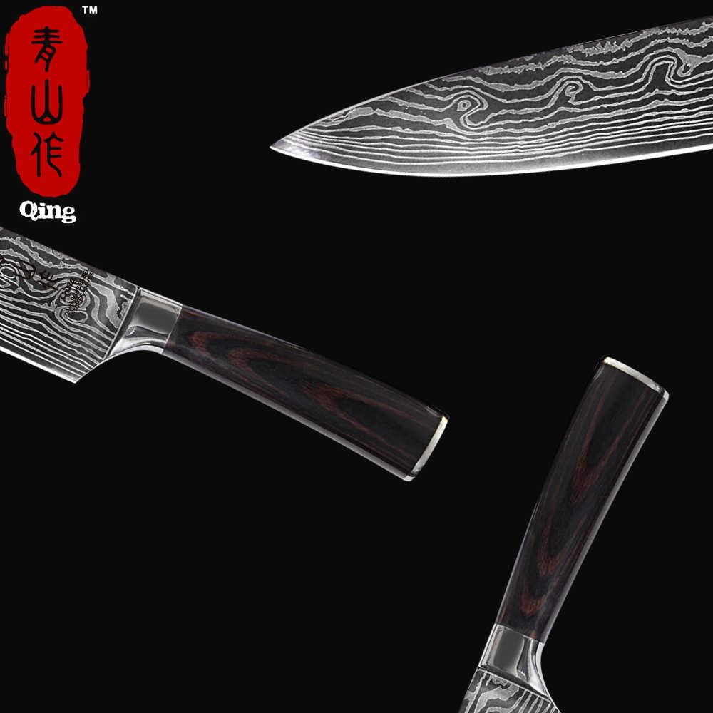 """Qing 7CR17 נירוסטה סכיני סט יפני 3.5 """"5"""" 7 """"8"""" מטבח סכין לייזר דמשק דפוס פלדת סכין סט בישול כלים"""