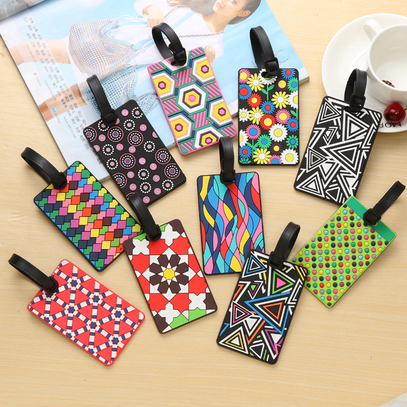 Fashion Geometric Element Luggage Tags Holder ID Address Portable Suitcase Silica Gel Baggage Boarding Label Travel Accessories