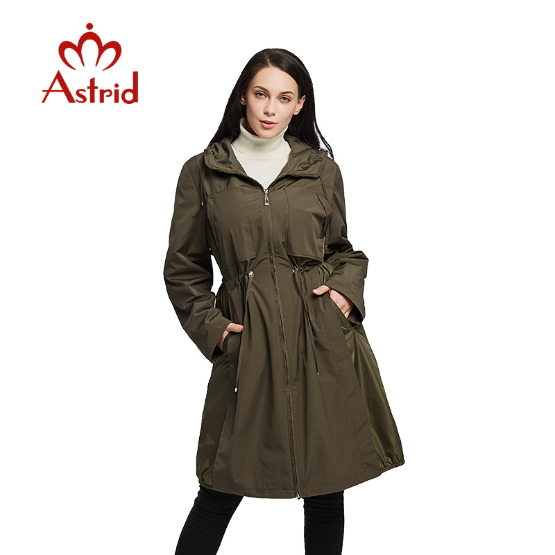 2019 Women Spring Jacket Windbreaker Jacket Drawstring Hem Long Sleeves Hooded Coat Spring Lightweight Windbreaker Women AS1925