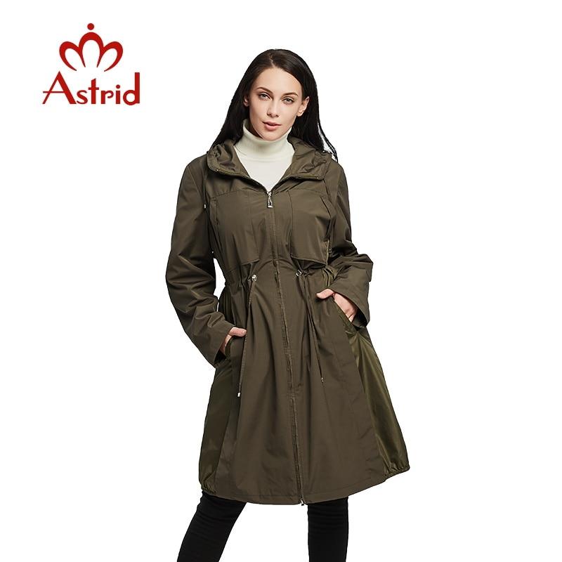2019 Women Spring Jacket Windbreaker Jacket Drawstring Hem Long Sleeves Hooded Coat Spring Lightweight Windbreaker Women AS1925
