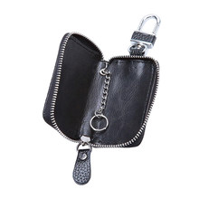 Mode Autosleutel Leather Cases Pouch Mannen Sleutelhouder Huishoudster Keys Organizer Man autosleutel Rits Case Tassen Pouch Purse a30(China)