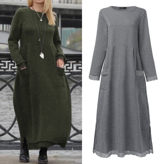 Fashion Women's Autumn Sundress ZANZEA 2019 Lace Patchwork Sweatshirts Dress Female Hoodies Plus Size Maxi Vestidos Pullover 5XL 1