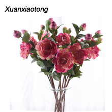 Xuanxiaotong 60cm Watercolor Peony Artificial Flowers and Bud Silk for Home Decoration Wedding Flower