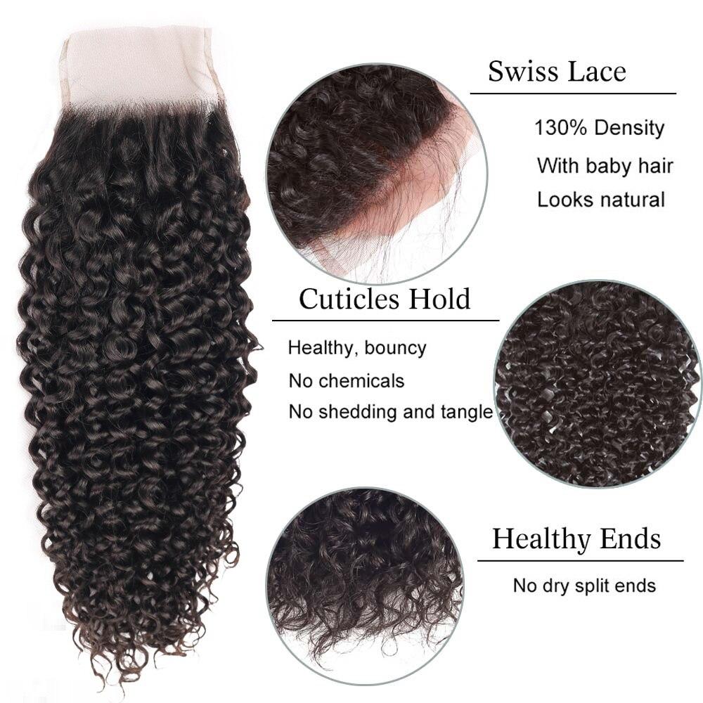 100%  Water Wave Curly 3 Bundles With Closure  Hair s   Bundles 4