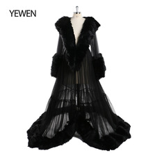 Evening-Dress Full-Sleeves V-Neck Fur See-Through Tulle for Women Vestidos-De-Fiesta