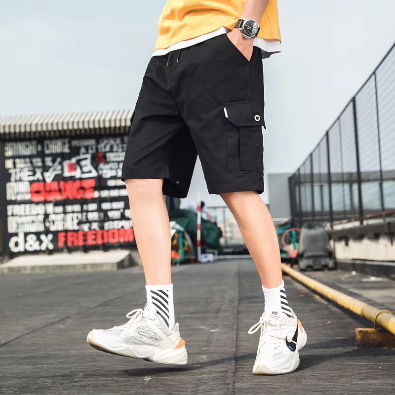 Summer Casual Shorts Men's Loose Straight Shorts Youth Thin Multi-pockets Bib Overall MEN'S Middle Pants