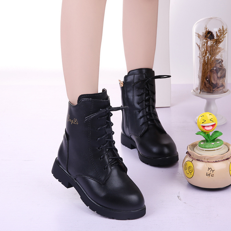 Velvet Middle Boots Side Zipper Student Cotton high-top Casual Shoes