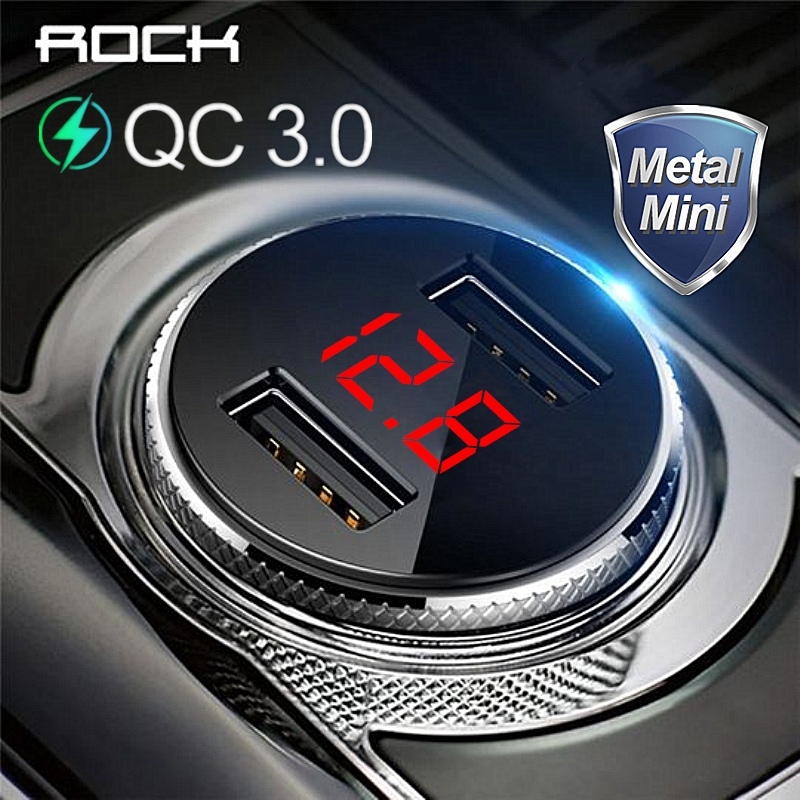 ROCK QC 3.0 Metal Dual USB Phone Car Charger Digital Display For iPhone Xiaomi Samsung Huawei Fast Charging Voltage Monitoring
