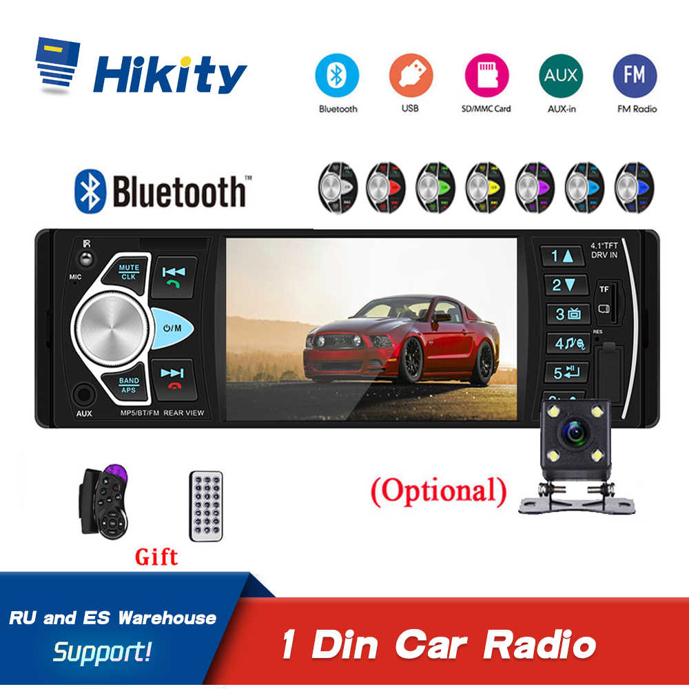 Hikity 4022D Audio Mobil Bluetooth Handsfree 4.1 Inch Radio USB/AUX Kontrol Roda Kemudi Video MP5 Pemain Pemutaran autoraido