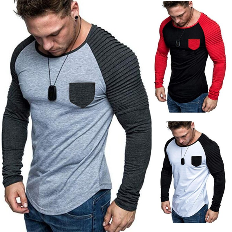 Hot Sale 2019 new spring fashion with round neckline Slim Fit with long sleeve T-shirt Men's Trend Casual Men's T-shirt black