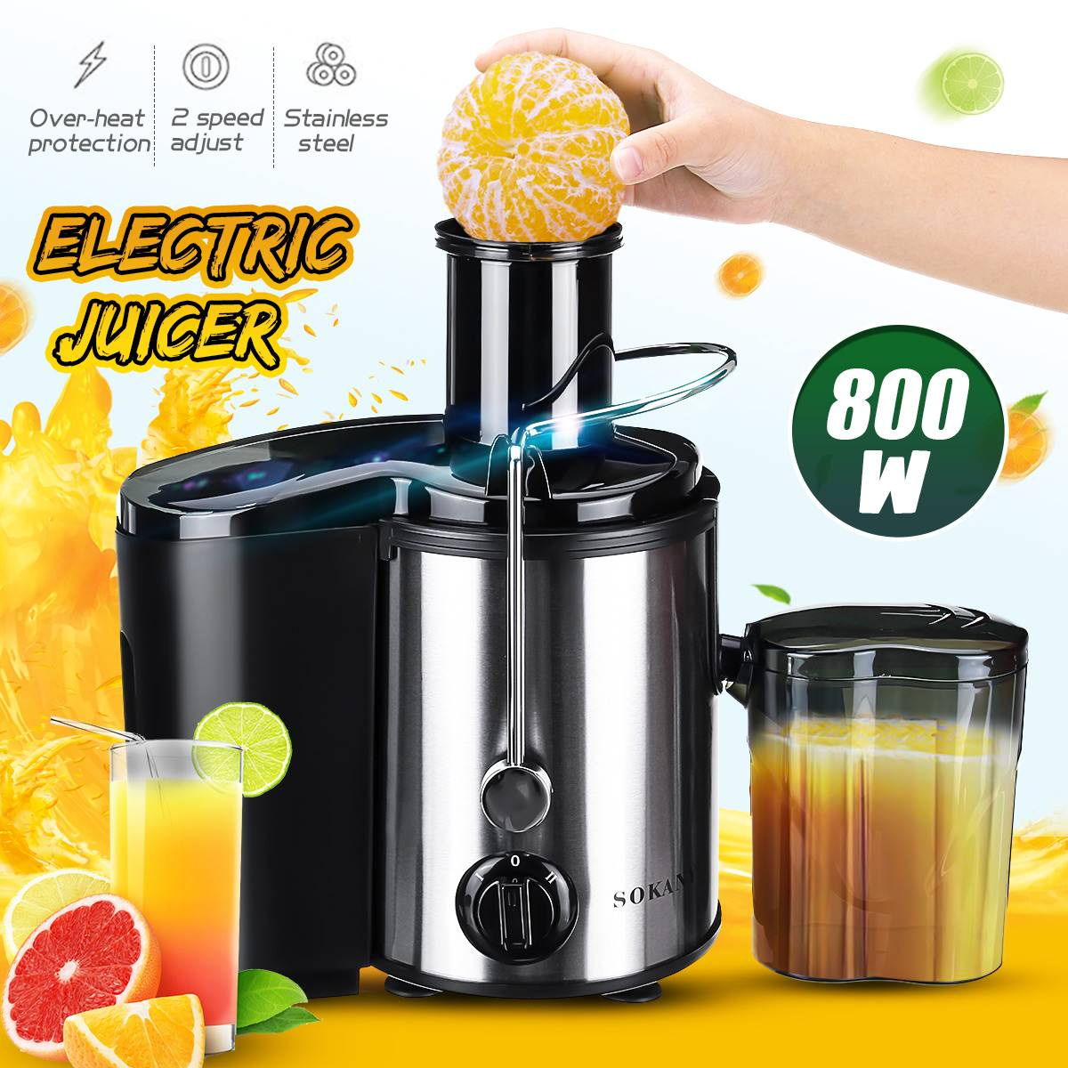 800W 220V Electric Juicer Stainless Steel Juicers Whole Fruit Vegetable Food-Blender Mixer Extractor Machine 2 Speed Adjustment