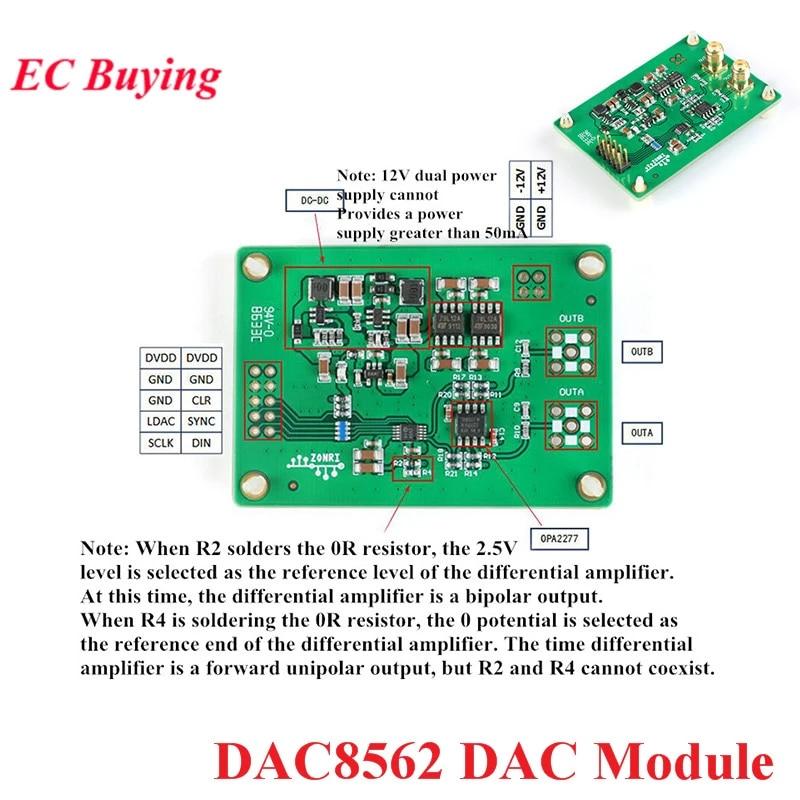 DAC8562 DAC Module ±10V Signal Amplitude 16-Bit DAC Single// Bipolar Output pans
