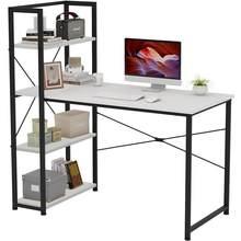 Escritorio de hierro de madera para ordenador portátil, mesa de escritura para estudio con estantes, cajones, muebles de oficina con estantería para el hogar HWC