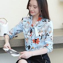 Autumn Fashion Women Shirts Blouse Elegant Silk Blouses Shirt Plus Size Korean Print Bow