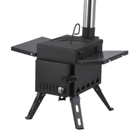 Outdoor Firewood Stove Portable Picnic Equipment Multi-functional Carbon Steel Camping BBQ Folding Foldable Cooking Stove S Size