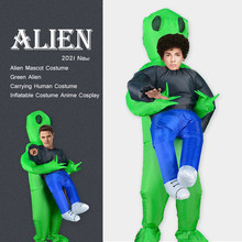 Alien Mascot Costume Green Alien Carrying Human Adult Inflatable Costume Anime Cosplay For Man Women Halloween Costume